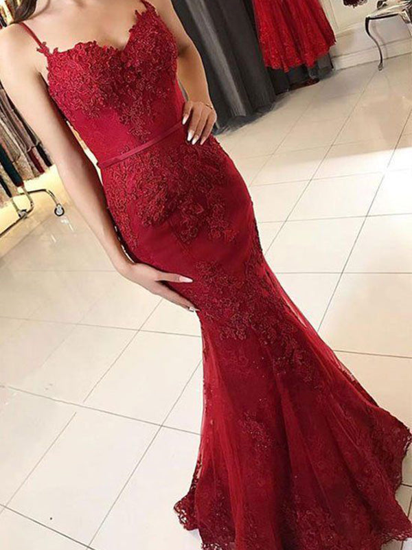 4b334339427 Burgundy Mermaid Prom Dress Cheap Vintage Lace Prom Dress  VB2558 -  DemiDress.com