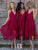 Pink Lace Bridesmaid Dresses V Neck Cheap Bridesmaid Dresses # VB2567
