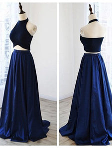 A-line Halter Floor-length Sleeveless Elastic Woven Satin Prom Dress/Evening Dress #VB257