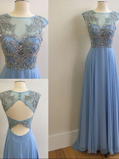A-line Bateau Floor-length Sleeveless Chiffon Prom Dress/Evening Dress #VB258