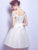 Ivory Lace Homecoming Dress Off The Shoulder Cheap Homecoming Dress #VB2592