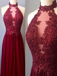 Chic A Line Burgundy Prom Dress Modest Cheap Long Prom Dress #VB261
