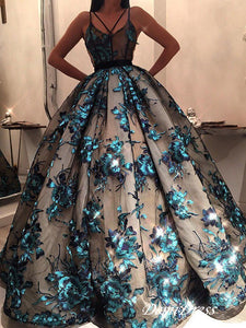 Ball Gown Vintage Prom Dress Unique Long Prom Dress #VB2634