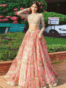Two Piece Lace Prom Dress Indian Gold And Pink Prom Dress With Sleeve #VB2644