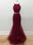 Burgundy Two Piece Prom Dress Mermaid Lace Cheap Prom Dress #VB2648