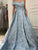 Vintage Blue Prom Dress Lace One Shoulder Prom Dress With Sleeve #VB2649