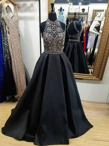 Chic A Line Prom Dress Modest Cheap Black Long Prom Dress #VB264