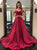 Burgundy Two Piece Prom Dress Cheap Long Prom Dress #VB2652