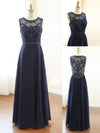 2018 Prom Dress Unique Cheap A-line Scoop Dark Navy Long Prom Dress #VB267 - DemiDress.com