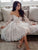 Ivory Lace Homecoming Dress Off The Shoulder Homecoming Dress With Sleeve #VB2684