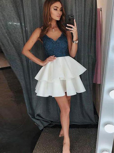 2018 Lace Homecoming Dress Cheap Party Graduation Homecoming Dress #VB2686 - DemiDress.com
