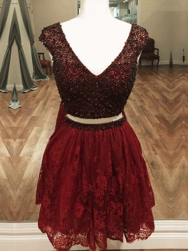Burgundy Two Piece Homecoming Dress Lace V Neck Homecoming Dress #VB2712