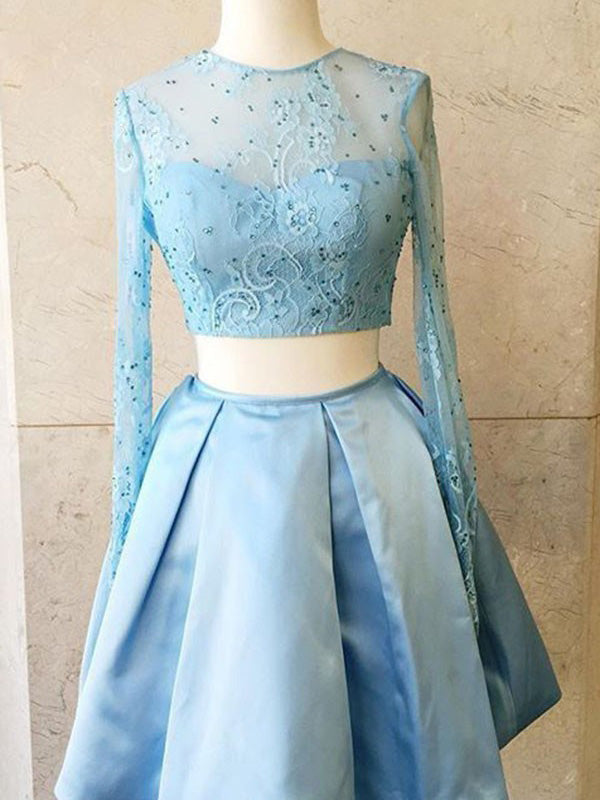 Two Piece Homecoming Dress Blue Long Sleeve Lace Homecoming Dress #VB2715