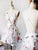 White Floral Homecoming Dress Cheap A Line Homecoming Dress #VB2725