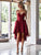 Burgundy Lace Homecoming Dress African Party Cheap Homecoming Dress #VB2727