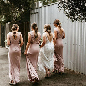 Chic Pink Bridesmaid Dresses Cheap Long Bridesmaid Dresses # VB2774