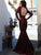 Burgundy Mermaid Prom Dress Indian Cheap Long Sleeve Prom Dress # VB2791