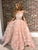 Pink Lace Prom Dress African Cheap A Line Long Prom Dress # VB2797