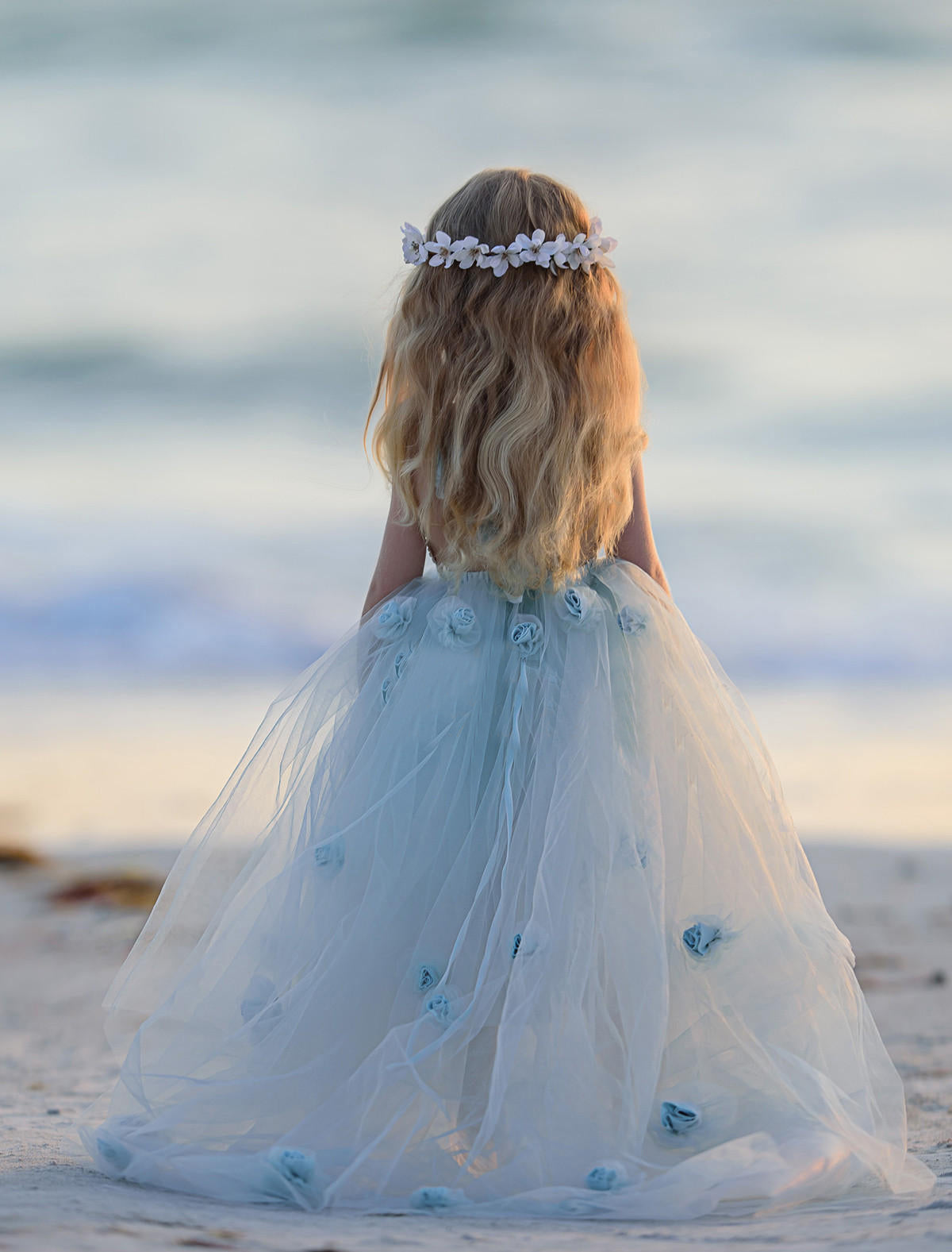 Ball Gown Blue Flower Girl Dresses Lace Cheap Cute Flower Girl