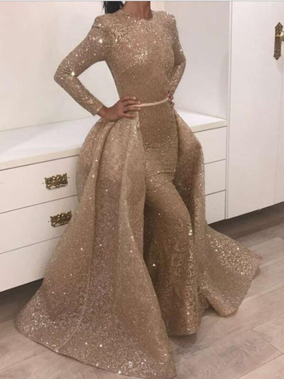 034287b87d Mermaid Long Sleeve Prom Dress Vintage African Gold Prom Dress   VB2819