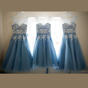 Blue Lace Bridesmaid Dresses Cheap Beautiful A Line Bridesmaid Dresses # VB2821