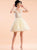 Yellow Lace Homecoming Dress Party Cheap V Neck Homecoming Dress #VB2841