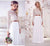 White Two Piece Wedding Dress Beach Lace Chiffon Wedding Dress With Sleeve # VB2845