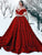 Vintage Red Wedding Dress Off The Shoulder Ball Gown Wedding Dress # VB2920