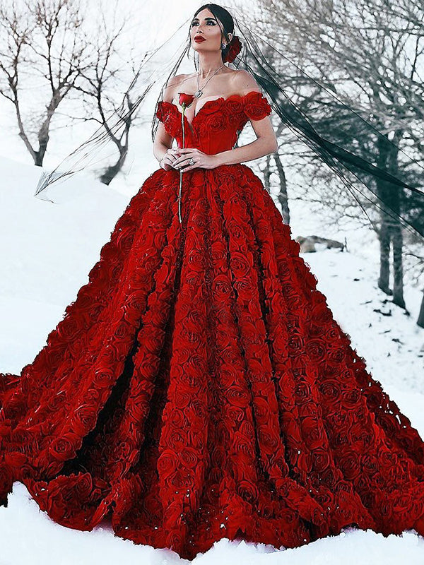 Red Wedding Dresses.Vintage Red Wedding Dress Off The Shoulder Ball Gown Wedding Dress Vb2920