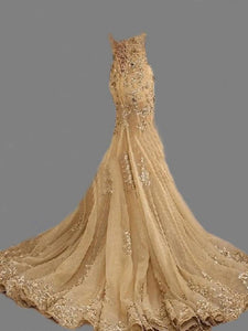 Mermaid Gold Prom Dress Cheap African Long Lace Prom Dress # VB3018