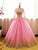 Ball Gown Pink Prom Dress Vintage Long Sleeve Prom Dress # VB3032