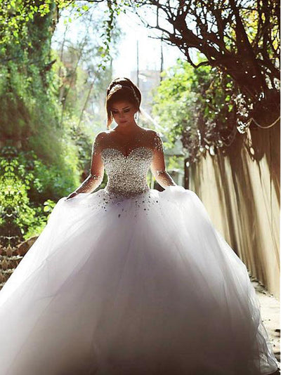 Ball Gown White Wedding Dress Long Sleeve Beautiful Tulle Wedding Dress # VB3057
