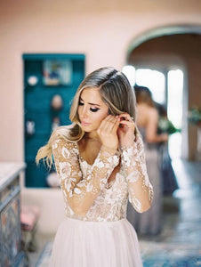 Ivory Lace Cheap Wedding Dress Long Sleeve Wedding Dress # VB3070