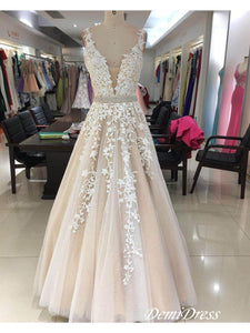 2018 A-line Prom Dress Lace Plus Size Cheap Long Prom Drsess VB3077