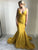 Mermaid Gold Prom Dress African Cheap Sexy Plus Size Prom Dress # VB3090