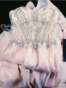 Chiffon Plus Size Prom Dress Pink Sweetheart A Line Prom Dress # VB3124