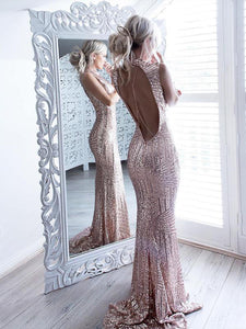 Mermaid Lace Prom Dress Vintage Sexy Pink Beautiful Prom Dress # VB3130