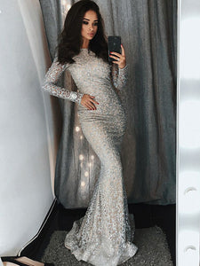 Mermaid Lace Prom Dress Vintage Sexy Silver Long Sleeve Prom Dress # VB3139