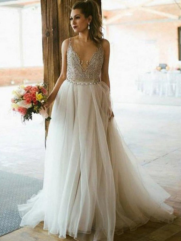 Ivory Plus Size Prom Dress Beading Tulle Vintage Prom Dress # VB3150