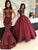 Vintage Mermaid Prom Dress Plus Size Burgundy Lace Prom Dress # VB3401