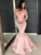 Pink Mermaid Prom Dress Plus Size Long Sleeve Off The Shoulder Prom Dress # VB3407