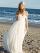 Beach Chiffon Wedding Dress Plus Size Off The Shoulder Cheap Wedding Dress # VB3421