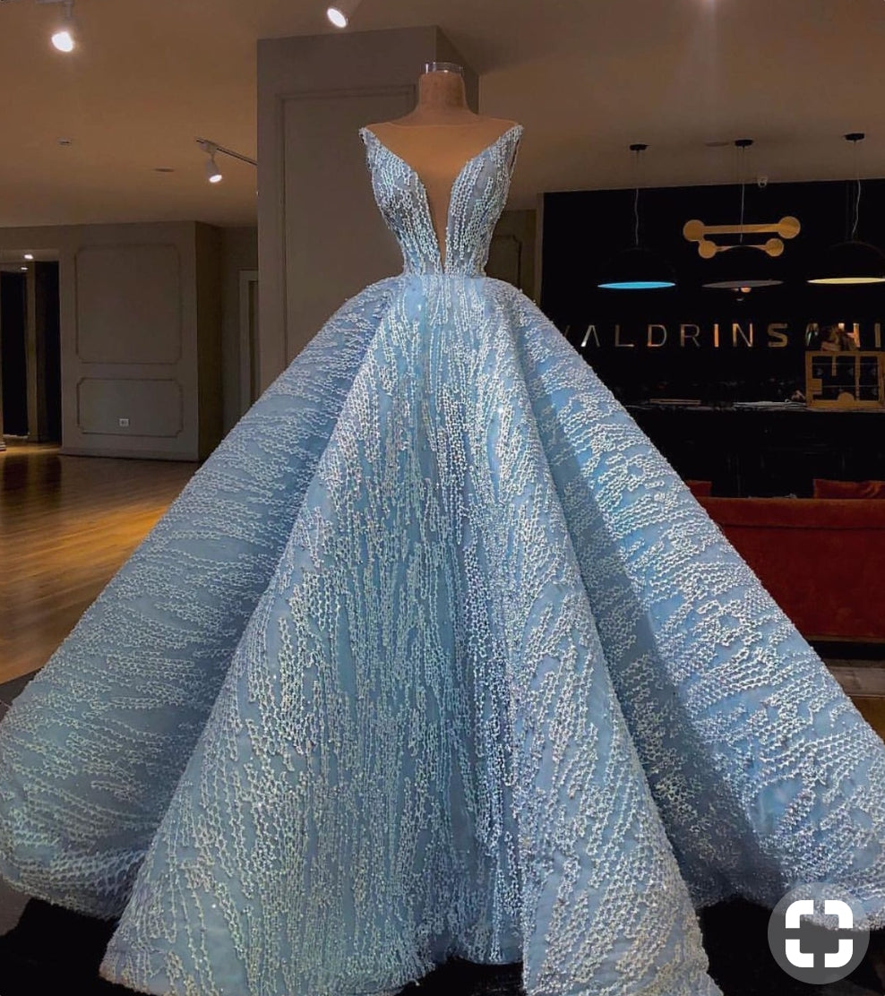 Vintage Ball Gown Prom Dress Plus Size African Long Blue Prom Dress # VB3434