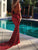Mermaid Burgundy Prom Dress Sexy V Neck Cheap Prom Dress # VB3440