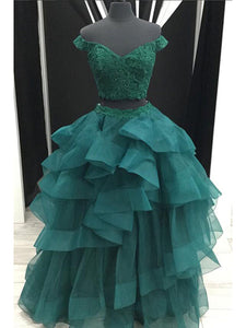Two Piece Green Prom Dress Lace Cheap Long Ball Gown Prom Dress # VB3471