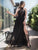 Chiffon Black Prom Dress Lace Cheap Long Plus Size Prom Dress # VB3481