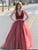 Two Piece Burgundy Prom Dress Tulle Plus Size A Line Prom Dress # VB3513