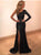 Black One Shoulder Prom Dress Sequins Long Sleeve Prom Dress # VB3518