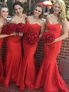 Trumpet/Mermaid Sweetheart Sweep/Brush Train Sleeveless Satin Bridesmaid Dresses # VB351