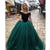 Ball Gown Green Prom Dress Plus Size Off The Shoulder Tulle Prom Dress # VB3563